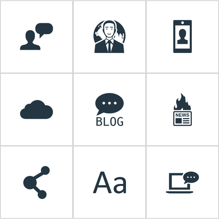 information medium: Vector Illustration Set Of Simple Newspaper Icons. Elements Site, Overcast, Profile And Other Synonyms Considering, Smartphone And Network.