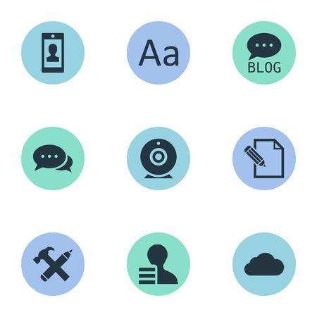 Vector Illustration Set Of Simple User Icons. Elements Site, Argument, Repair And Other Synonyms Hammer, Cloud And Alphabet.