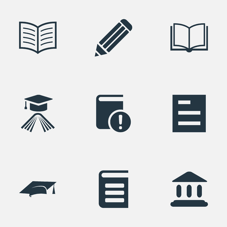 Vector Illustration Set Of Simple Education Icons. Elements Graduation Hat, Important Reading, Pen And Other Synonyms Book, Encyclopedia And Writing.