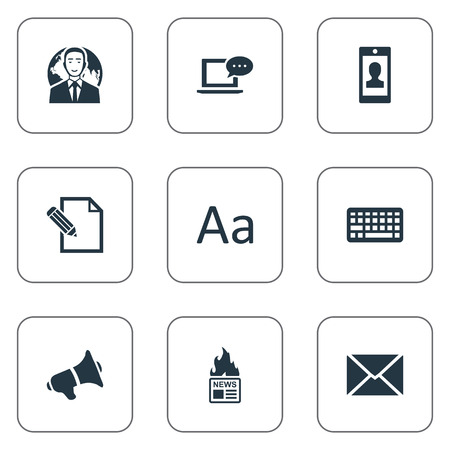 Vector Illustration Set Of Simple Blogging Icons. Elements Cedilla, Document, Gazette And Other Synonyms Keypad, Keyboard And Megaphone. Ilustrace