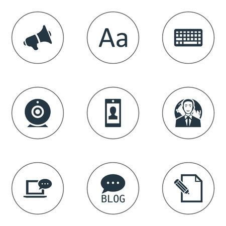 Vectorillustratiereeks Eenvoudige Gebruikerspictogrammen. Elementen Internationale zakenman, luidspreker, toetsenbord en andere synoniemen Cedilla, toetsenbord en internationaal.