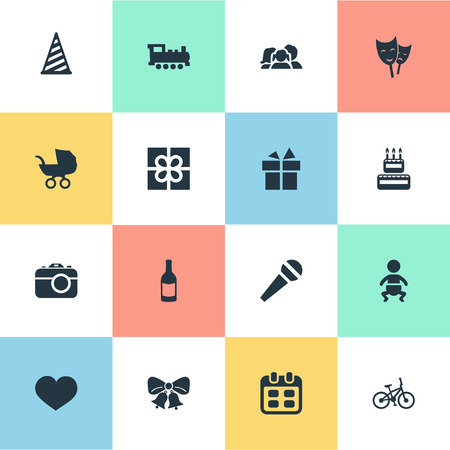 Vector Illustration Set Of Simple Celebration Icons. Elements Camera, Confectionery, Mask And Other Synonyms Jingle, Box And Infant. Illustration
