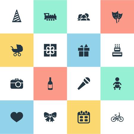 Vector illustratie Set van eenvoudige viering iconen. Elementen Camera, zoetwaren, masker en andere synoniemen Jingle, doos en baby. Stock Illustratie