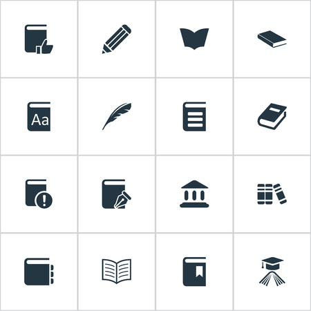 Vector Illustration Set Of Simple Books Icons. Elements Book Page, Library, Alphabet And Other Synonyms Pen, Literature And Journal. Ilustrace
