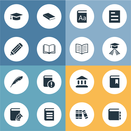 Vector Illustration Set Of Simple Education Icons. Elements Bookshelf, Sketchbook, Book Page And Other Synonyms Bookshelf, Academy And Document. Ilustração