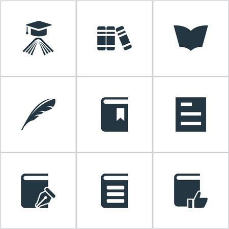 벡터 일러스트 레이 션 간단한 책 아이콘의 집합입니다. 요소 읽기, 스케치북, 책 표지 및 기타 동의어 문서, 호의적 및 스케치 북.