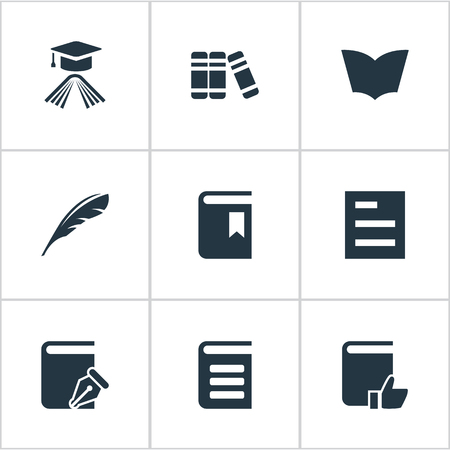 Vector Illustration Set Of Simple Books Icons. Elements Reading, Sketchbook, Book Cover And Other Synonyms Document, Favored And Sketchbook.
