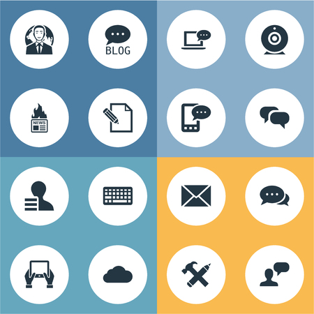 burning paper: Vector Illustration Set Of Simple Blogging Icons. Elements Document, Overcast, Post And Other Synonyms Considering, Hammer And Coming. Illustration