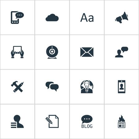 Vector illustratie Set van eenvoudige bloggen pictogrammen. Elementen Post, Profiel, Man Overwegend en Andere synoniemen Man, potlood en pen. Stock Illustratie