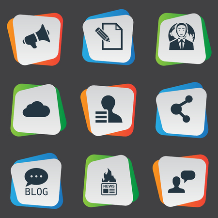 Vector Illustration Set Of Simple User Icons. Elements Man Considering, Gazette, Loudspeaker And Other Synonyms Debate, Globe And Sky. Ilustrace