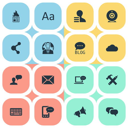 Vector Illustration Set Of Simple User Icons. Elements Broadcast, Gazette, Keypad And Other Synonyms Pencil, E-Letter And Laptop. Illustration