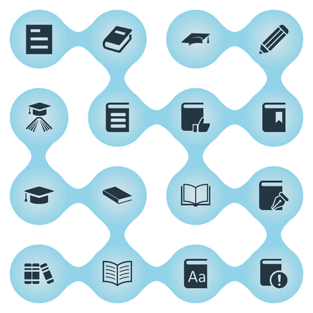 Vector Illustration Set Of Simple Books Icons. Elements Academic Cap, Bookshelf, Notebook And Other Synonyms Pen, Book And Reading.