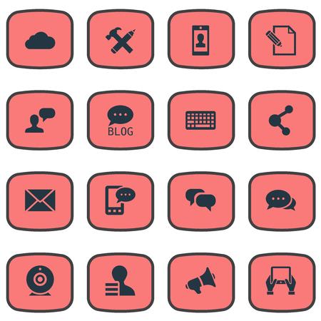 Vector illustratie Set van eenvoudige bloggen pictogrammen. Elementen Bewolking, bericht, e-brief en ander synoniemenprofiel, relatie en megafoon. Stockfoto - 77014714