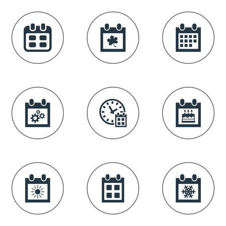 flotation: Vector Illustration Set Of Simple Time Icons. Elements Leaf, Date Block, Snowflake And Other Synonyms Sun, Leaf And Special.