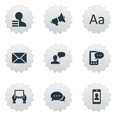 Vector Illustration Set Of Simple Newspaper Icons. Elements Loudspeaker, Profile, Post And Other Synonyms Alphabet, Typography And Smartphone. Çizim