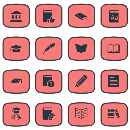 Vector Illustration Set Of Simple Knowledge Icons. Elements Tasklist, Reading, Graduation Hat And Other Synonyms Literature, Dictionary And Textbook.