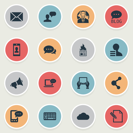 Vector Illustration Set Of Simple Blogging Icons. Elements Site, Share, Post And Other Synonyms News, Hot And Epistle.