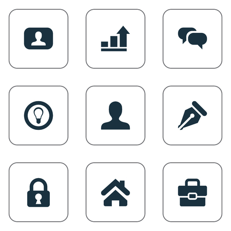Vector Illustration Set Of Simple Trade Icons. Elements Progress, Home, Nib And Other Synonyms Incognito, Interlocutor And Dialog.