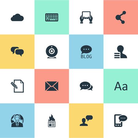 advantages: Vector Illustration Set Of Simple Blogging Icons. Elements Broadcast, Man Considering, Gazette And Other Synonyms International, Web And Relation.