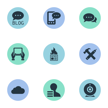 Vector Illustration Set Of Simple Newspaper Icons. Elements Overcast, Gain, Notepad And Other Synonyms Gain, Argument And Camera. Çizim