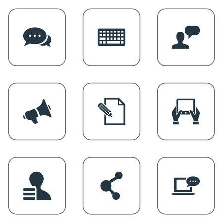 Vector illustratie Set van eenvoudige bloggen pictogrammen. Elementen document, delen, overwegen en andere synoniemenwinst, overweging en toetsenbord.