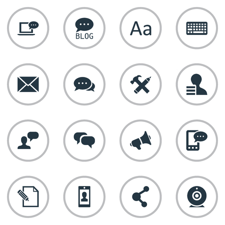 Vectorillustratiereeks Eenvoudige Gebruikerspictogrammen. Elementen reparatie, e-brief, uitzending en andere synoniemen blog, reparatie en roddels. Stock Illustratie