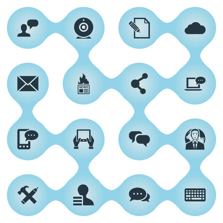 Vector Illustration Set Of Simple User Icons. Elements Broadcast, Share, Gazette And Other Synonyms Debate, Keypad And E-Letter.