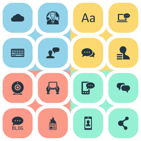 Vector Illustration Set Of Simple Newspaper Icons. Elements Man Considering, Argument, Share And Other Synonyms Phone, E-Letter And Relation. Ilustrace