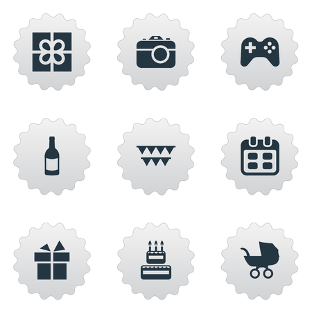 Vector Illustration Set Of Simple Celebration Icons. Elements Confectionery, Decorations;, Game And Other Synonyms Days, Party And Camera.