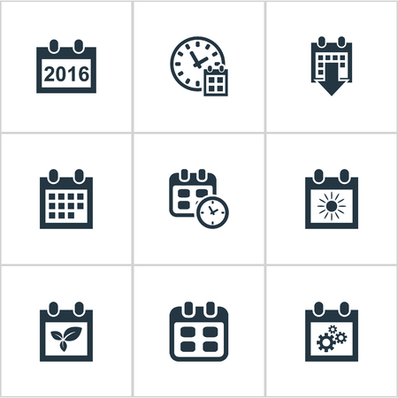 flotation: Vector Illustration Set Of Simple Plan Icons. Elements Event, Date Block, Date And Other Synonyms Plant, Agenda And Sun.