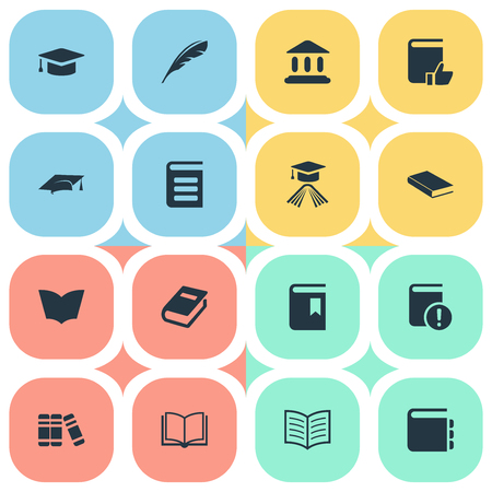 Vector Illustration Set Of Simple Books Icons. Elements Blank Notebook, Encyclopedia, Library And Other Synonyms School, Textbook And Reading.