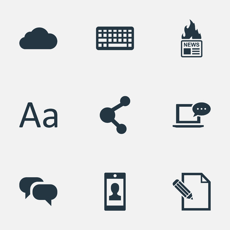Vector Illustration Set Of Simple User Icons. Elements Keypad, Document, Laptop And Other Synonyms Relation, Writing And Keypad. Illustration