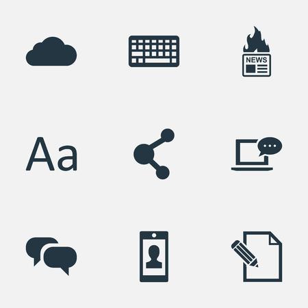 Vectorillustratiereeks Eenvoudige Gebruikerspictogrammen. Elementen toetsenblok, document, laptop en andere synoniemenrelaties, schrift en toetsenbord.