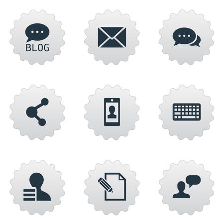 Vectorillustratiereeks Eenvoudige Gebruikerspictogrammen. Elementen Site, Document, Profiel En Andere Synoniemen Missief, Forum en Brief.