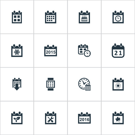 Vector Illustration Set Of Simple Calendar Icons. Elements Annual, Deadline, Plant And Other Synonyms Day, Winter And Repair.