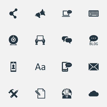 Vector Illustration Set Of Simple Blogging Icons. Elements Share, Cedilla, Loudspeaker And Other Synonyms Gossip, Writing And Overcast.