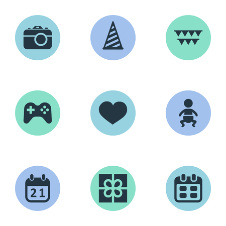 Vector Illustration Set Of Simple Birthday Icons. Elements Days, Infant, Cap And Other Synonyms Calendar, Photography And Infant. Ilustração