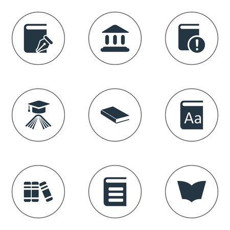 Vector Illustration Set Of Simple Education Icons. Elements Library, Reading, Bookshelf And Other Synonyms Textbook, Bookshelf And Notebook. Ilustração