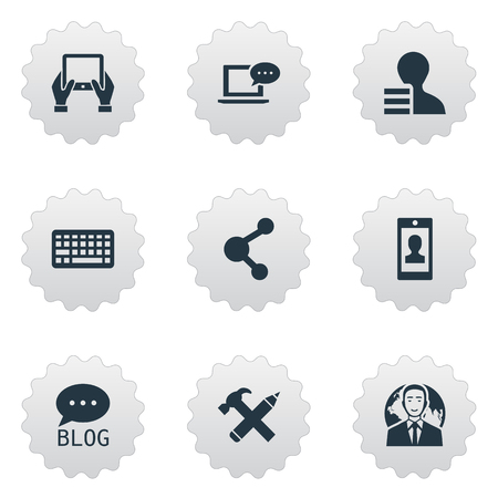 Vector Illustration Set Of Simple Blogging Icons. Elements Keypad, International Businessman, Notepad And Other Synonyms International, Smartphone And Forum. Çizim