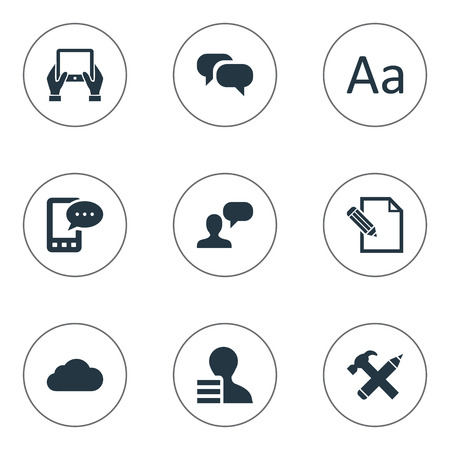 Vector Illustration Set Of Simple Newspaper Icons. Elements Gain, Gossip, Repair And Other Synonyms Cedilla, Message And Notepad.