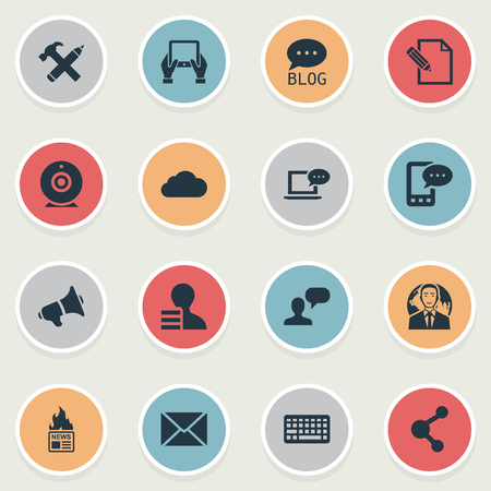 Vector Illustration Set Of Simple Blogging Icons. Elements Site, Share, Gain And Other Synonyms Hammer, Writing And Pencil.