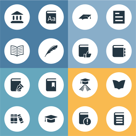 Vector Illustration Set Of Simple Knowledge Icons. Elements Academic Cap, Bookshelf, Recommended Reading And Other Synonyms Bookshelf, Write And Recommended. Ilustração