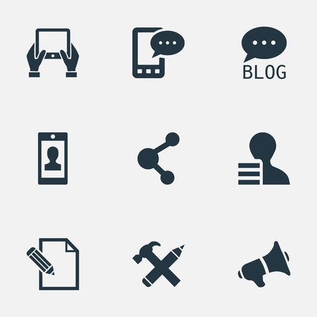 Vector Illustration Set Of Simple User Icons. Elements Gain, Document, Profile And Other Synonyms Pencil, Message And Phone. Ilustrace