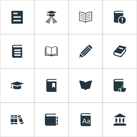 Vector Illustration Set Of Simple Knowledge Icons. Elements Reading, Blank Notebook, Notebook And Other Synonyms Notebook, Favored And Recommended. Ilustrace