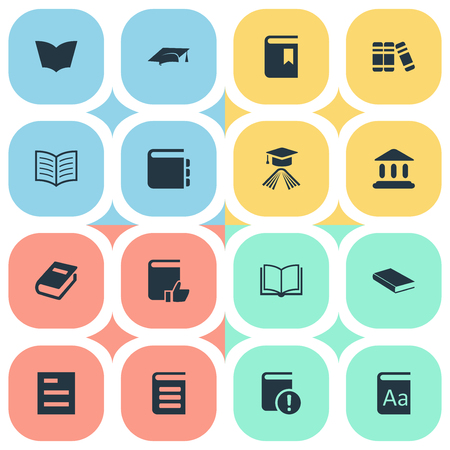 Vector Illustration Set Of Simple Reading Icons. Elements Alphabet, Recommended Reading, Library And Other Synonyms Catalog, Notebook And Journal.