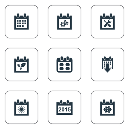Vector Illustration Set Of Simple Date Icons. Elements Date Block, Snowflake, Summer Calendar And Other Synonyms Almanac, Sun And Block.