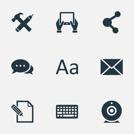 Vector Illustration Set Of Simple User Icons. Elements Share, Document, Argument And Other Synonyms Alphabet, Pen And Tablet. Illustration
