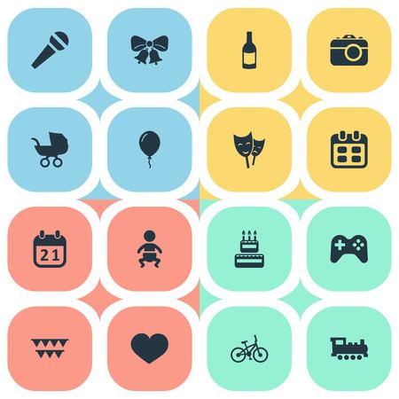 Vector Illustration Set d'icônes d'anniversaire simple. Éléments de boisson, masque, train et autres synonymes Sweetmeat, ballon et calendrier. Banque d'images - 77019273