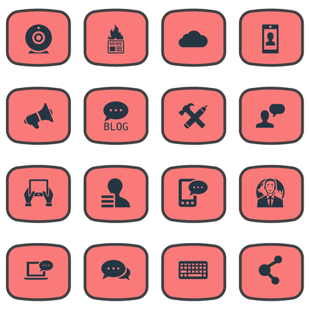 advantages: Vector Illustration Set Of Simple Newspaper Icons. Elements Man Considering, Argument, Profile And Other Synonyms Network, Hand And Share. Illustration