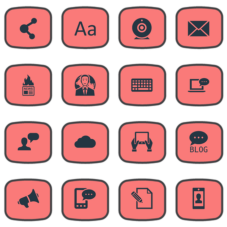 Vector Illustration Set Of Simple Newspaper Icons. Elements Broadcast, Loudspeaker, Share And Other Synonyms Message, Hand And Tablet.